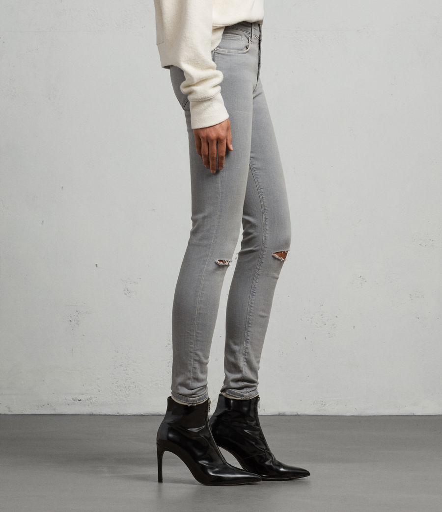 Womens Grace Slashed Skinny Jeans (grey) - Image 5