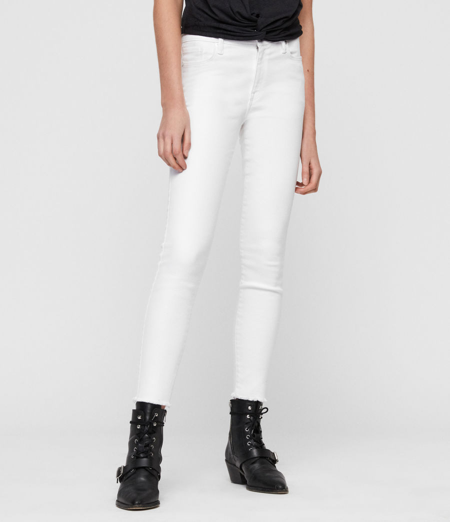 Womens Grace Ankle Fray Skinny Mid-Rise Jeans, White (white) - Image 1