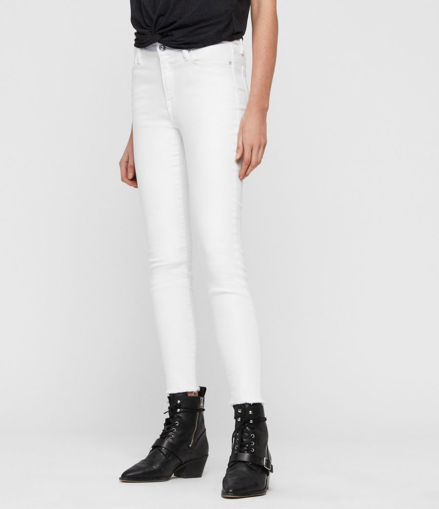 Womens Grace Ankle Fray Skinny Mid-Rise Jeans, White (white) - Image 4