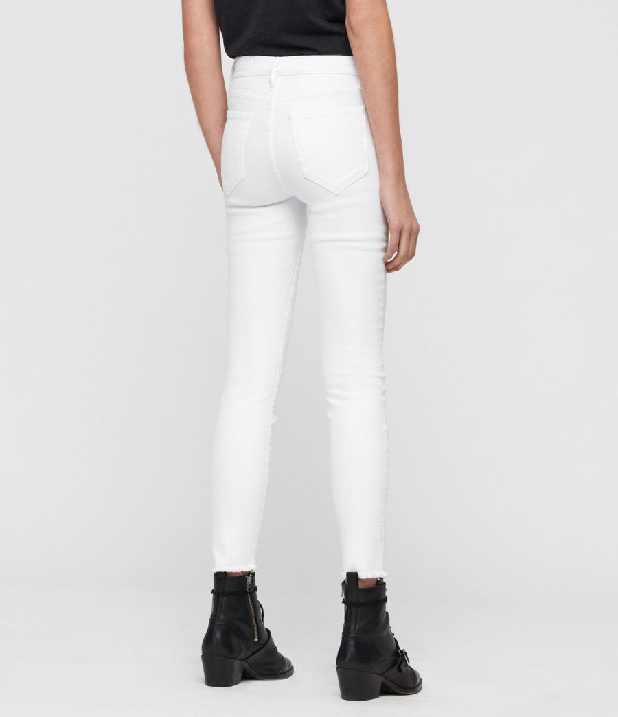 Womens Grace Ankle Fray Skinny Mid-Rise Jeans, White (white) - Image 5
