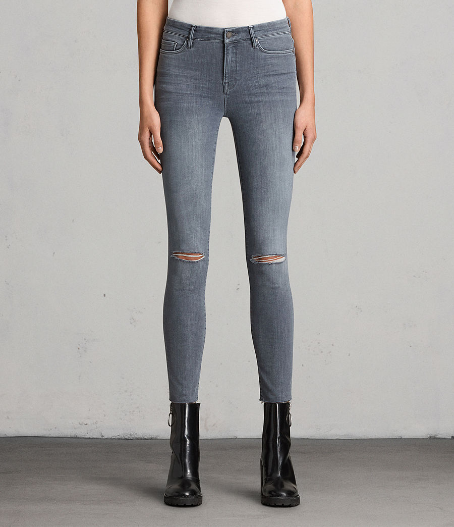 Womens Grace Slashed Jeans (Grey) - Image 1