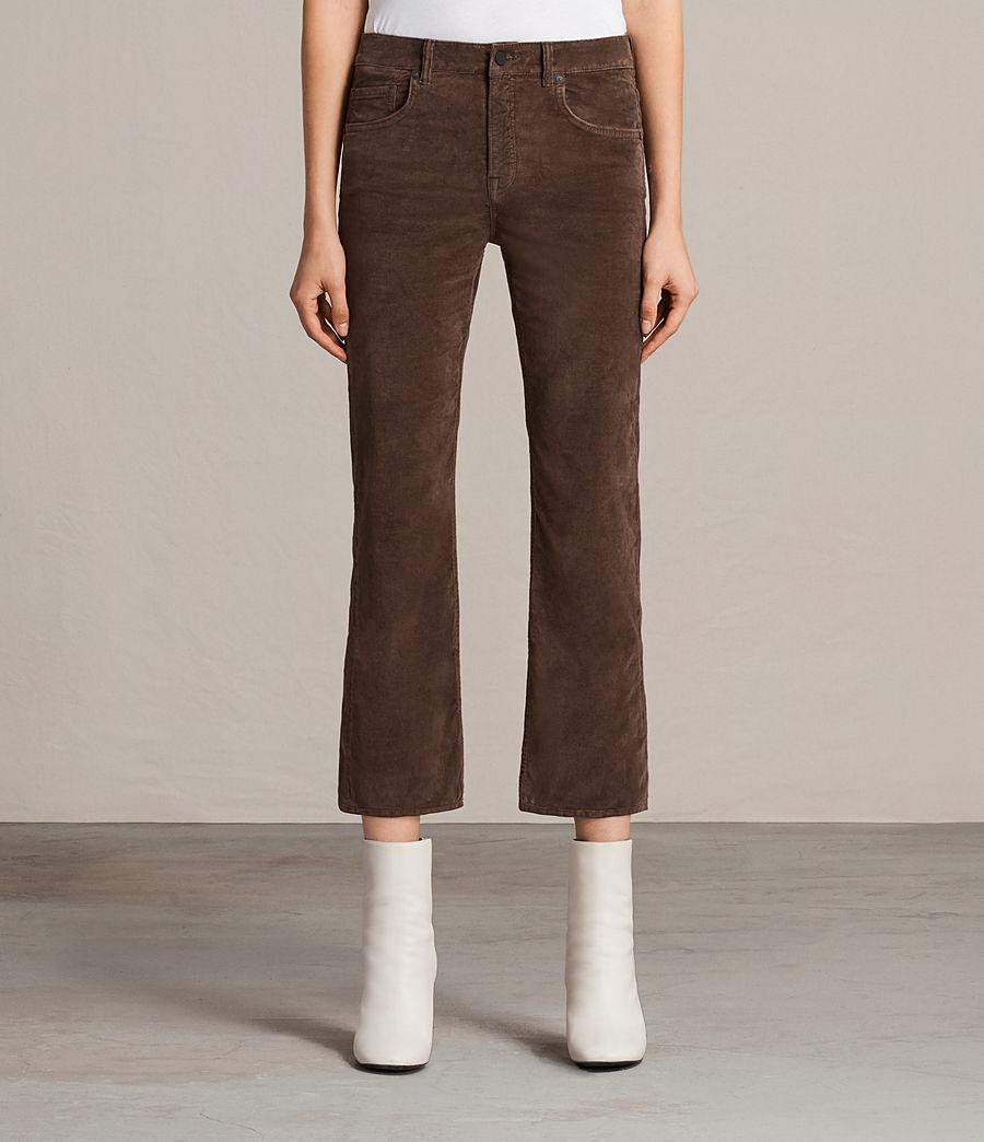 Damen Heidi Cropped Velvet Jeans (bitter_brown) - Image 1