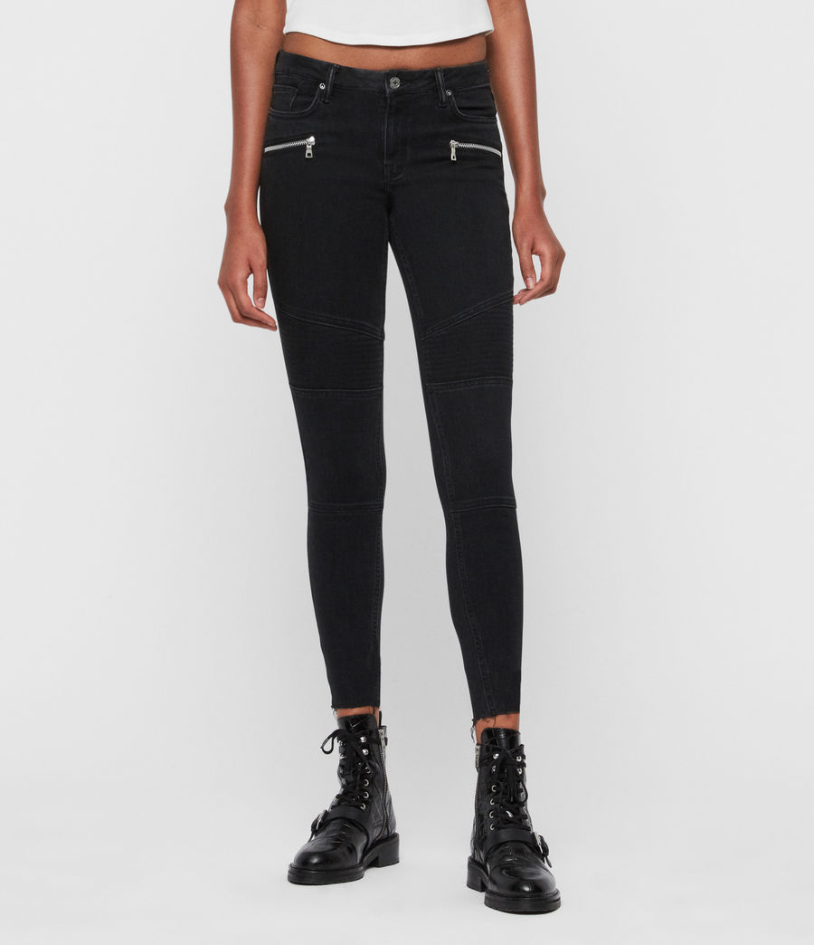 Grace Biker Mid Rise Cropped Jeans, Black by Allsaints