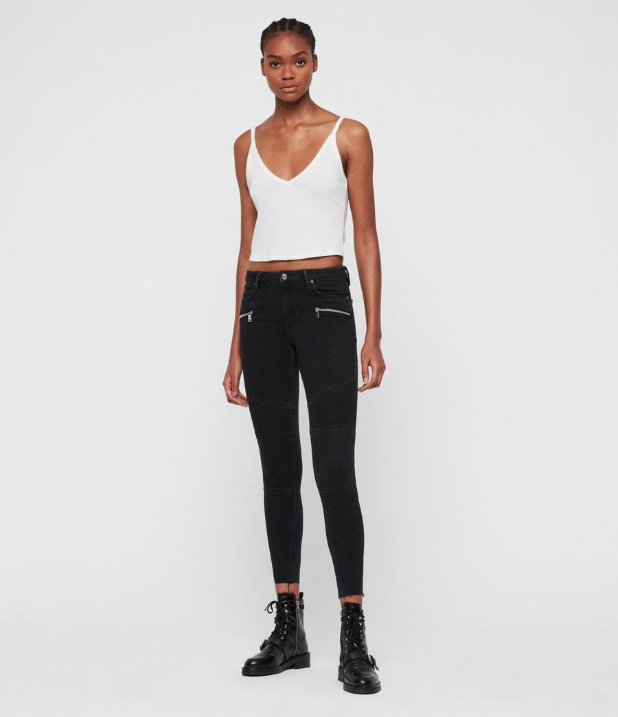 Donne Jeans Grace, Biker, Modellanti, Vita Media, Crop, Black (black) - Image 3