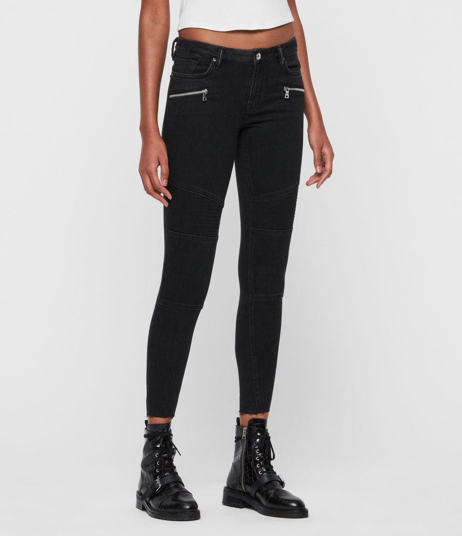Donne Jeans Grace, Biker, Modellanti, Vita Media, Crop, Black (black) - Image 4
