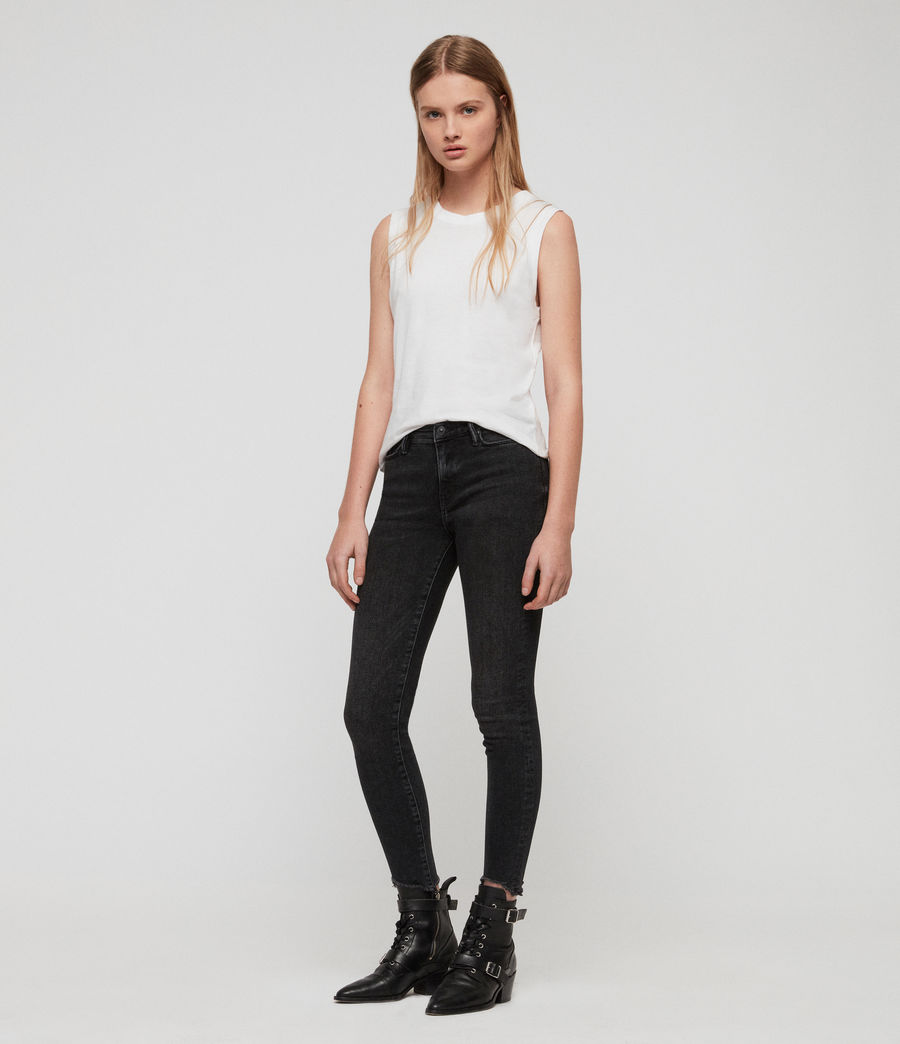 Women's Grace Ankle Fray Skinny Mid-Rise Jeans, Washed Black (washed_black) - Image 3