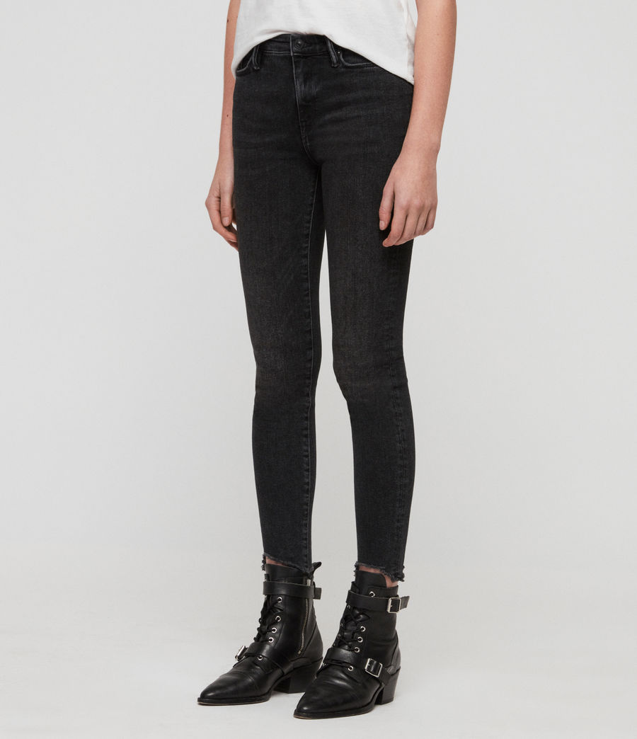 Women's Grace Ankle Fray Skinny Mid-Rise Jeans, Washed Black (washed_black) - Image 4