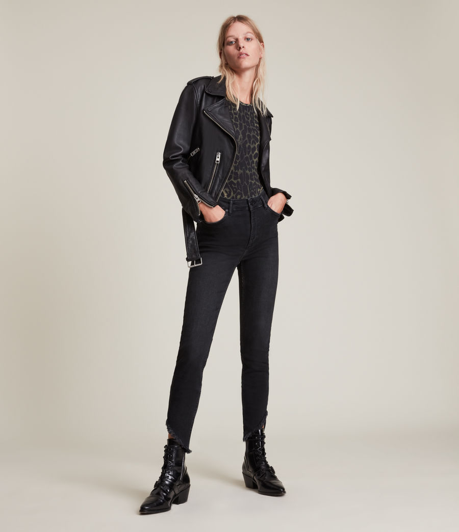 Women's Dax High-Rise Asymmetric Size Me Skinny Jeans (washed_black) - Image 1