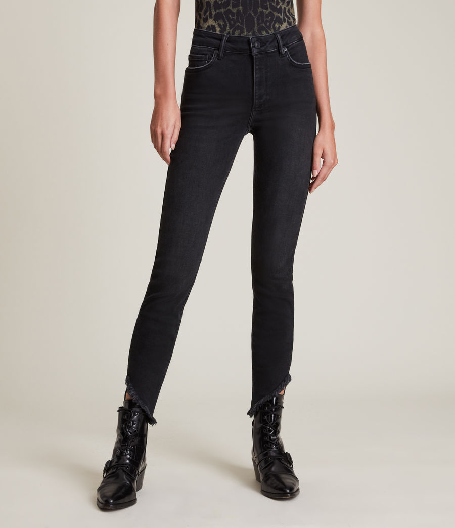 Women's Dax High-Rise Asymmetric Size Me Skinny Jeans (washed_black) - Image 2