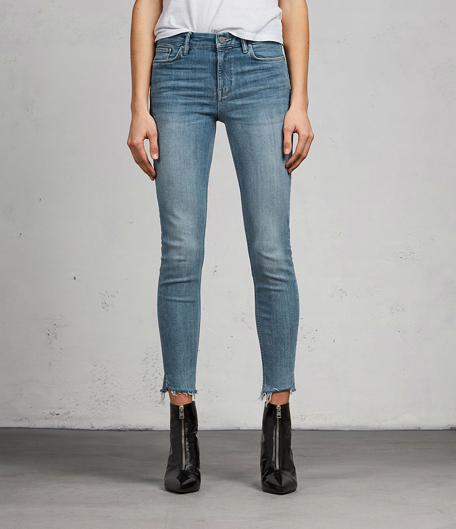 Women's Grace Ankle Fray Skinny Jeans (light_indigo_blue) - Image 1