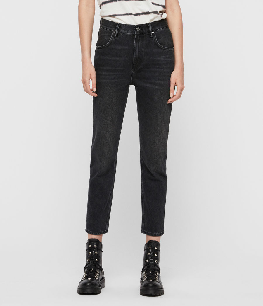 Womens Brooke High-Rise Straight Jeans, Washed Black (washed_black) - Image 1