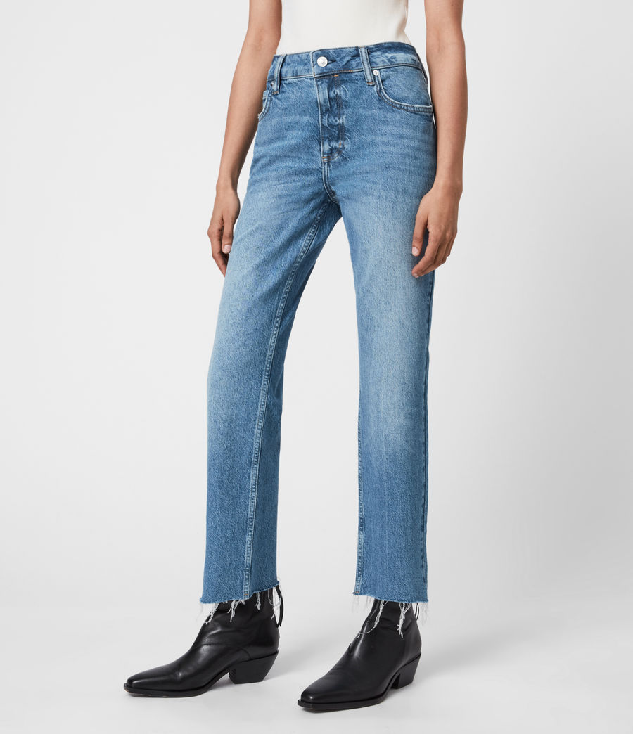 Women's Barely Cropped High-Rise Bootcut Jeans, Mid Indigo (mid_indigo) - Image 4
