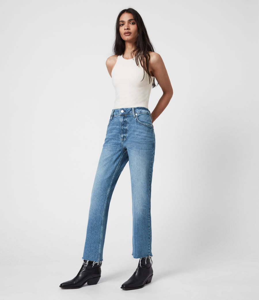 Women's Barely Cropped High-Rise Bootcut Jeans, Mid Indigo (mid_indigo) - Image 7