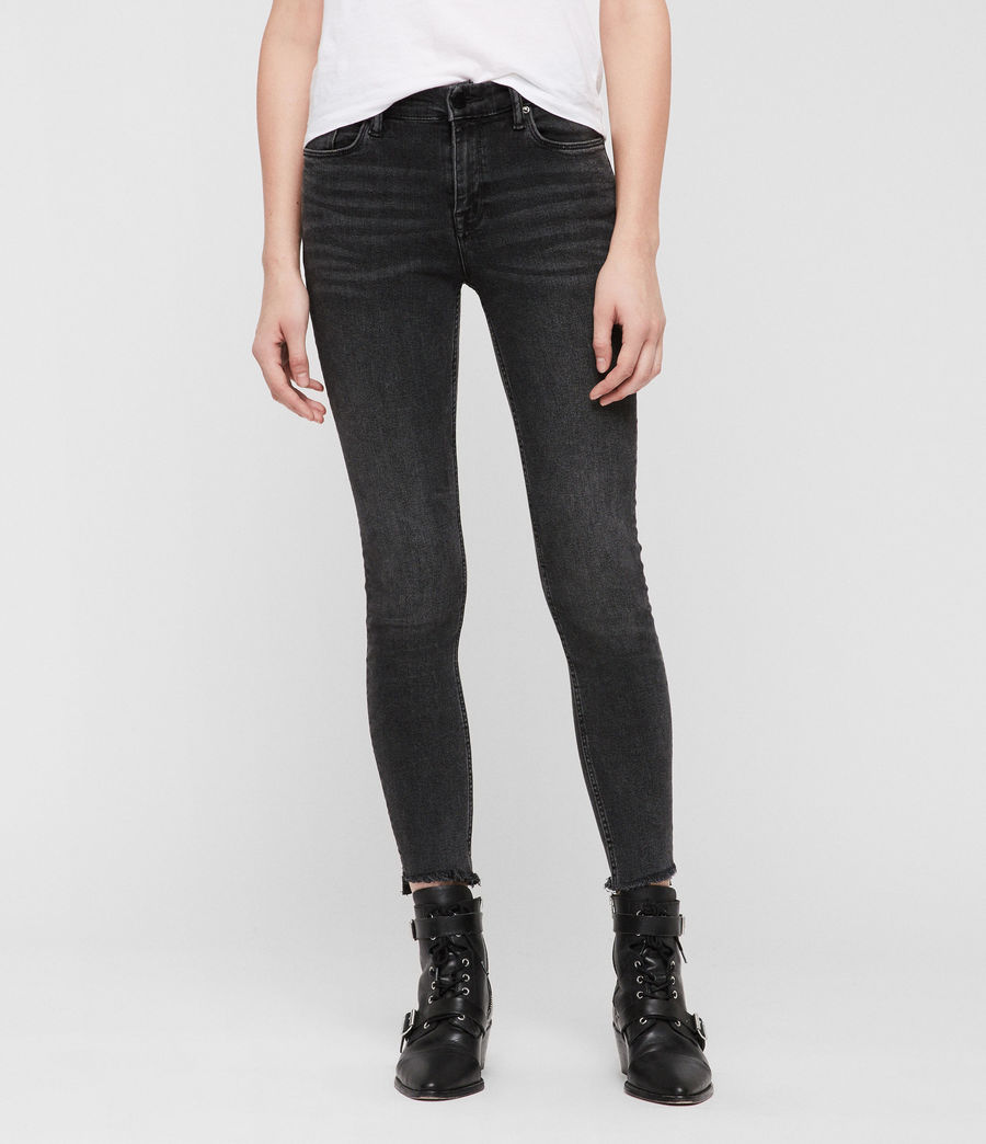 Womens Grace Ankle Fray Skinny Jeans (washed_black) - Image 4