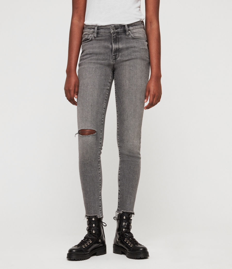 Women's Grace Destroy Ankle Skinny Jeans (destroy_grey) - Image 1