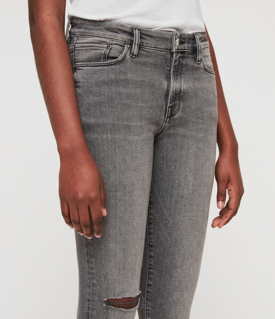 Women's Grace Destroy Ankle Skinny Jeans (destroy_grey) - Image 2