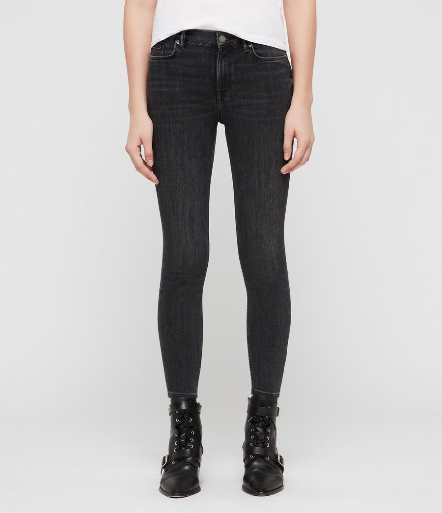 Womens Grace Cropped Zip Skinny Jeans (washed_black) - Image 1