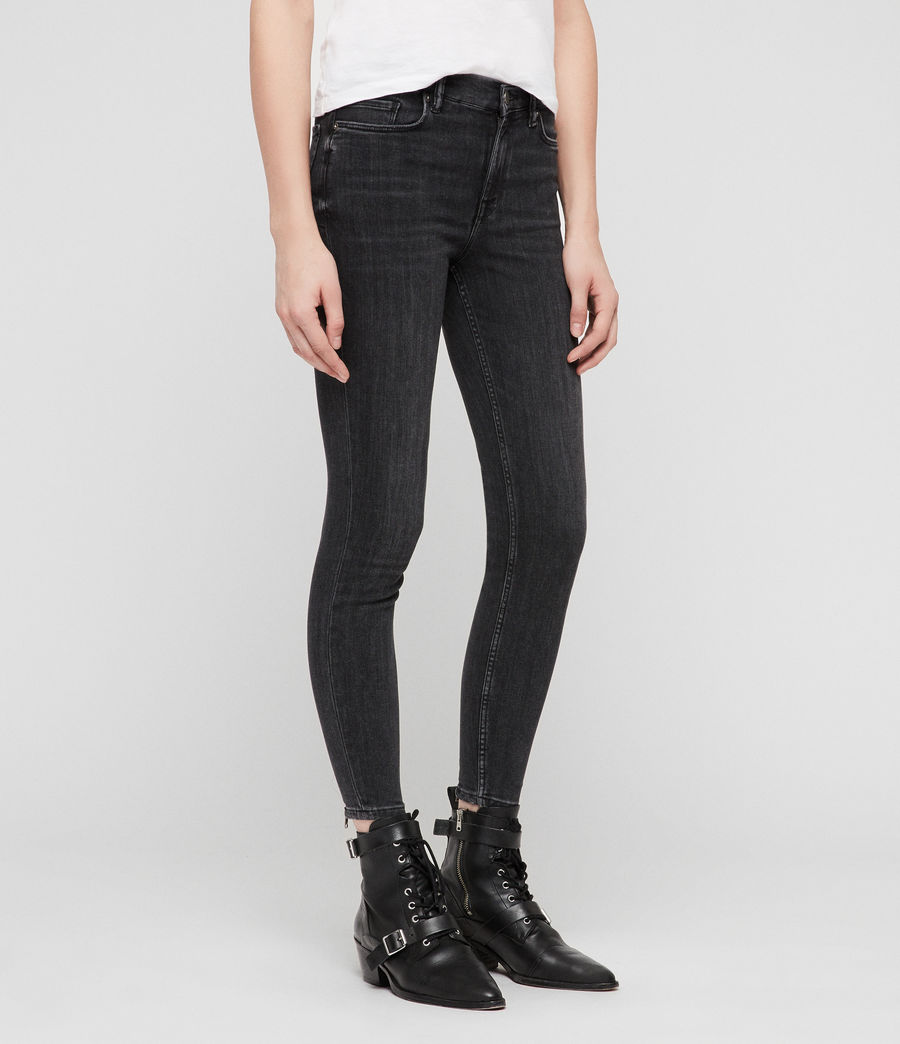 Womens Grace Cropped Zip Skinny Jeans (washed_black) - Image 4