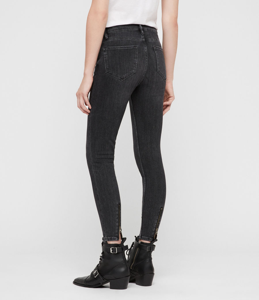 Womens Grace Cropped Zip Skinny Jeans (washed_black) - Image 5