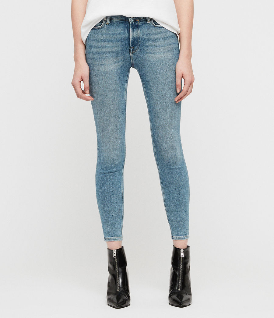 Womens Grace Cropped Zip Skinny Jeans (indigo_blue) - Image 1
