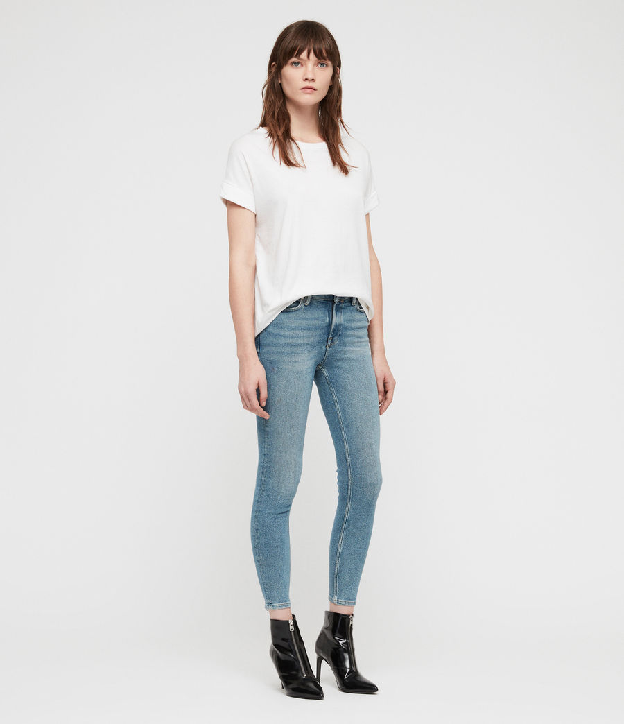 Women's Grace Cropped Zip Skinny Jeans (indigo_blue) - Image 3