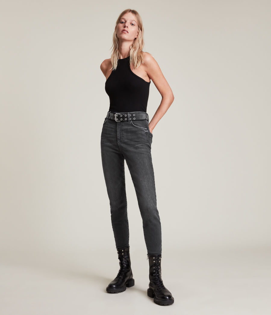 Women's Phoenix Ultra High-Rise Skinny Size Me Jeans (washed_black) - Image 1