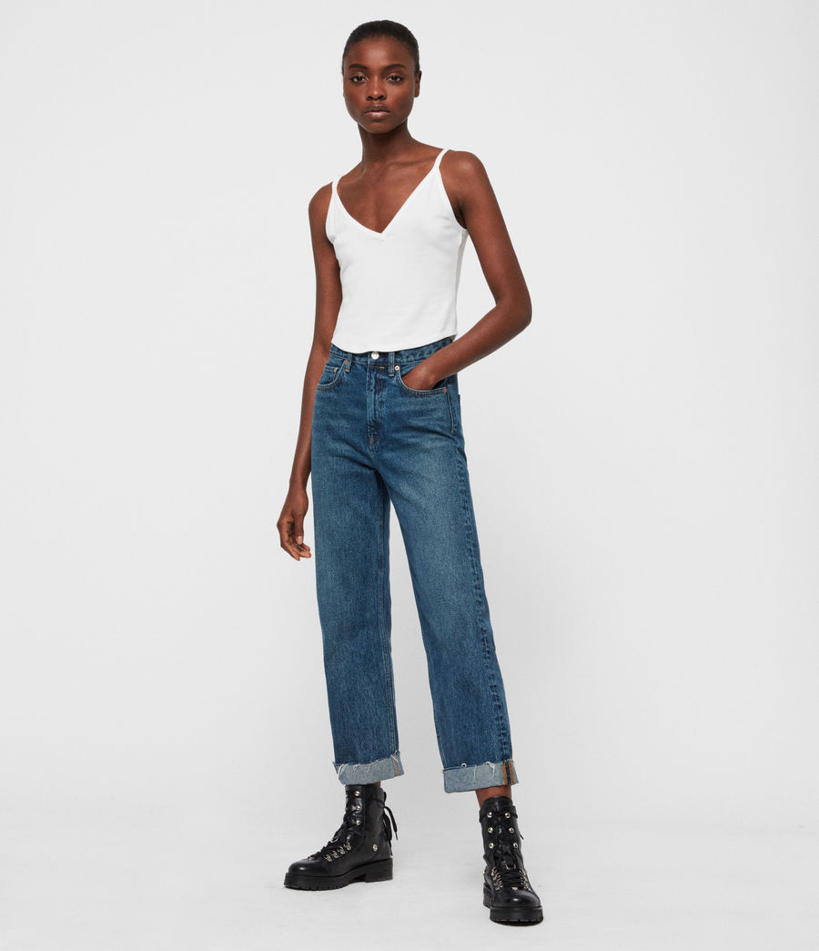 Womens Mari High-Rise Cropped Boyfriend Jeans, Dark Indigo Blue (dark_indigo_blue) - Image 3