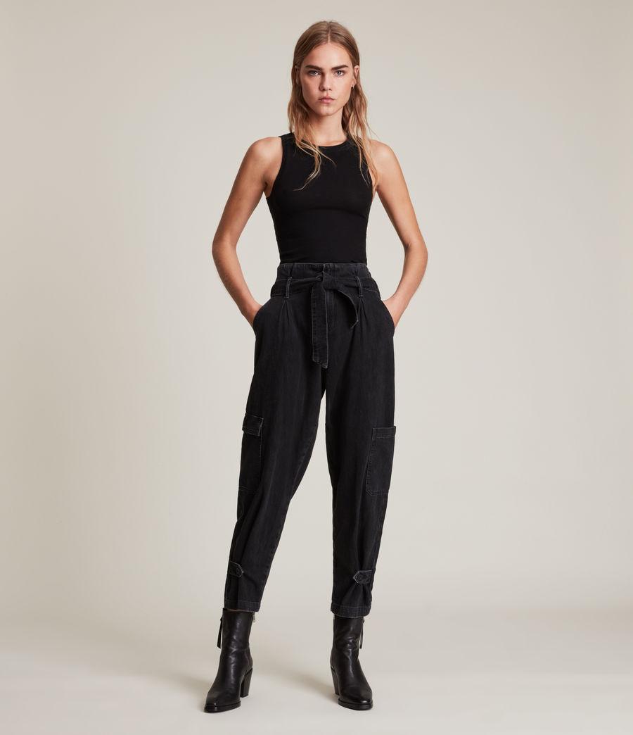 Womens Mona Mid-Rise Paperbag Slim Jeans, Washed Black (washed_black) - Image 1