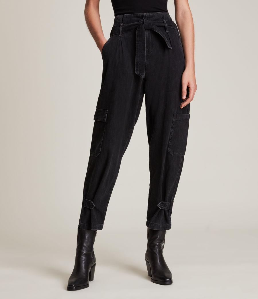 Womens Mona Mid-Rise Paperbag Slim Jeans, Washed Black (washed_black) - Image 2