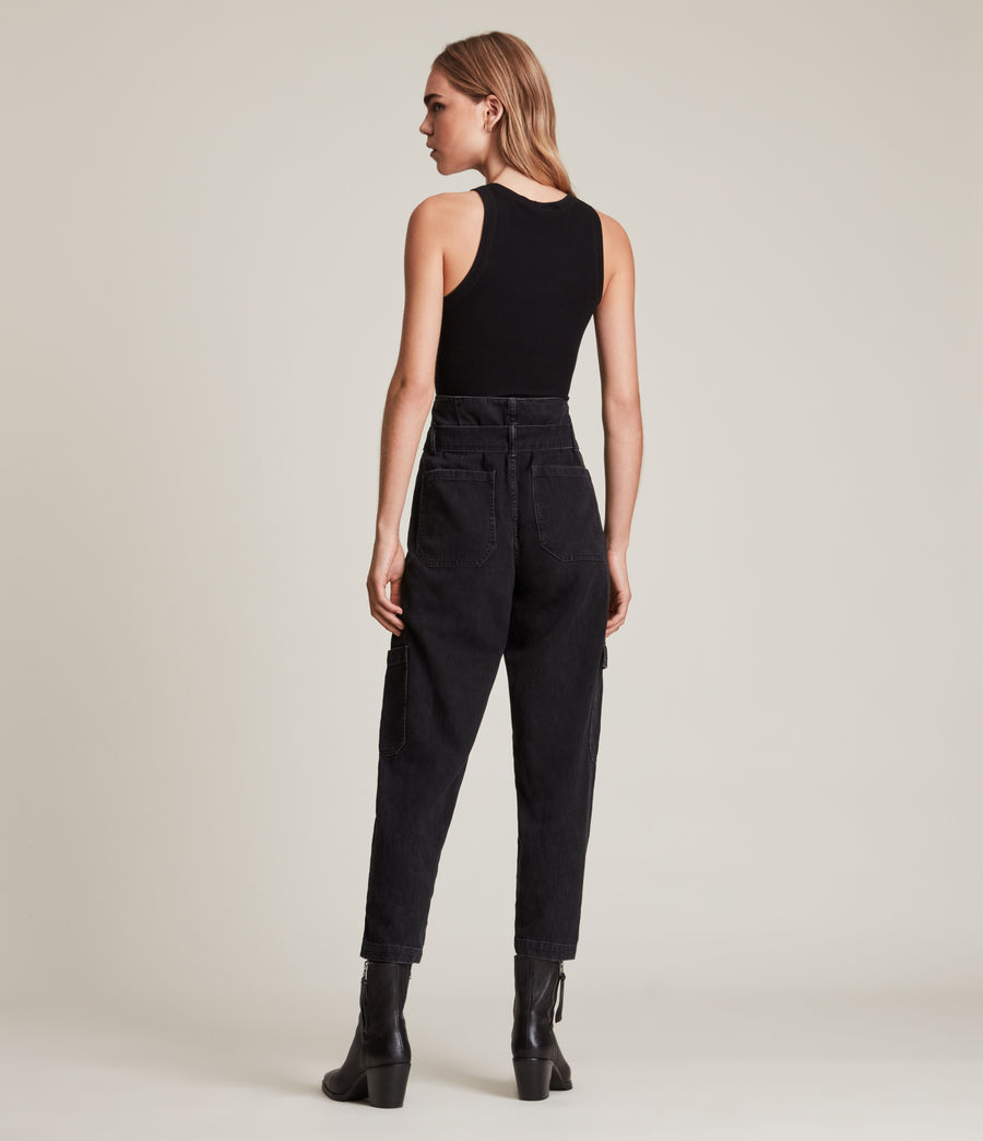 Womens Mona Mid-Rise Paperbag Slim Jeans, Washed Black (washed_black) - Image 4
