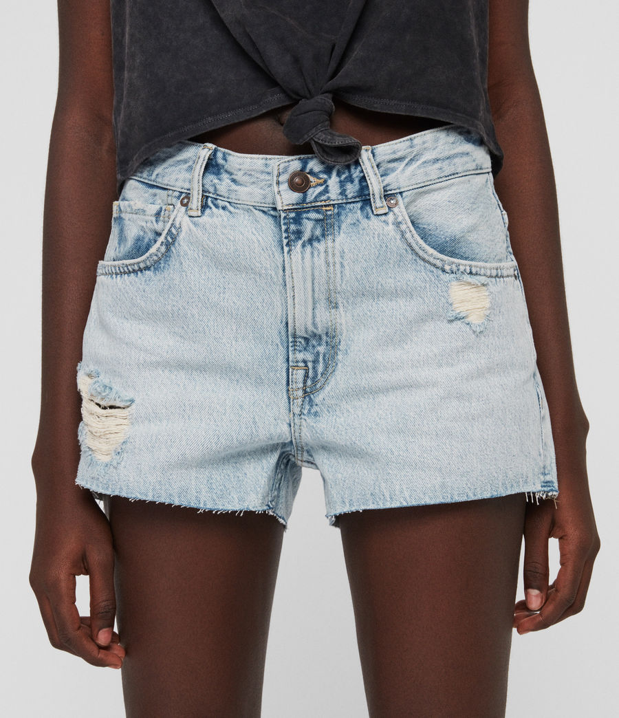 Womens Cleo Denim Low-Rise Boyfriend Shorts (ice_blue) - Image 2