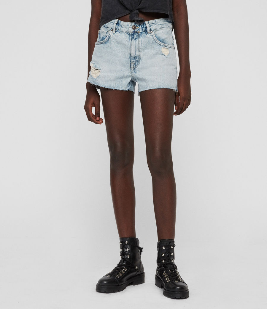Womens Cleo Denim Low-Rise Boyfriend Shorts (ice_blue) - Image 3