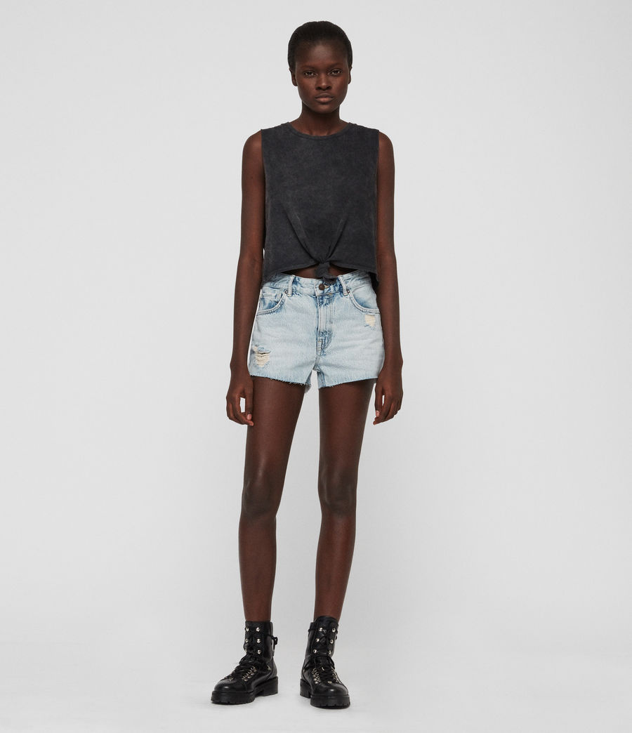 Womens Cleo Denim Low-Rise Boyfriend Shorts (ice_blue) - Image 4