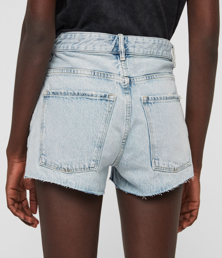 Womens Cleo Denim Low-Rise Boyfriend Shorts (ice_blue) - Image 5
