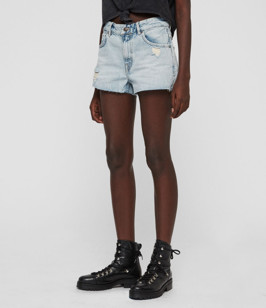 Womens Cleo Denim Low-Rise Boyfriend Shorts (ice_blue) - Image 6