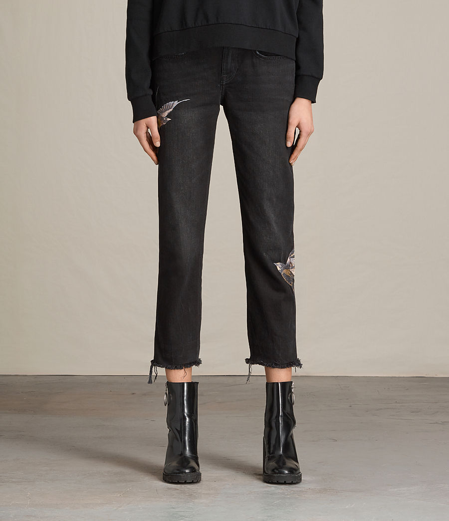 Mujer Vaqueros Birds Cropped Boys (washed_black) - Image 2