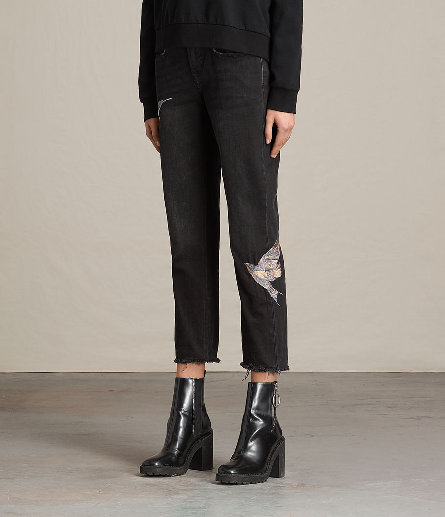 Mujer Vaqueros Birds Cropped Boys (washed_black) - Image 3