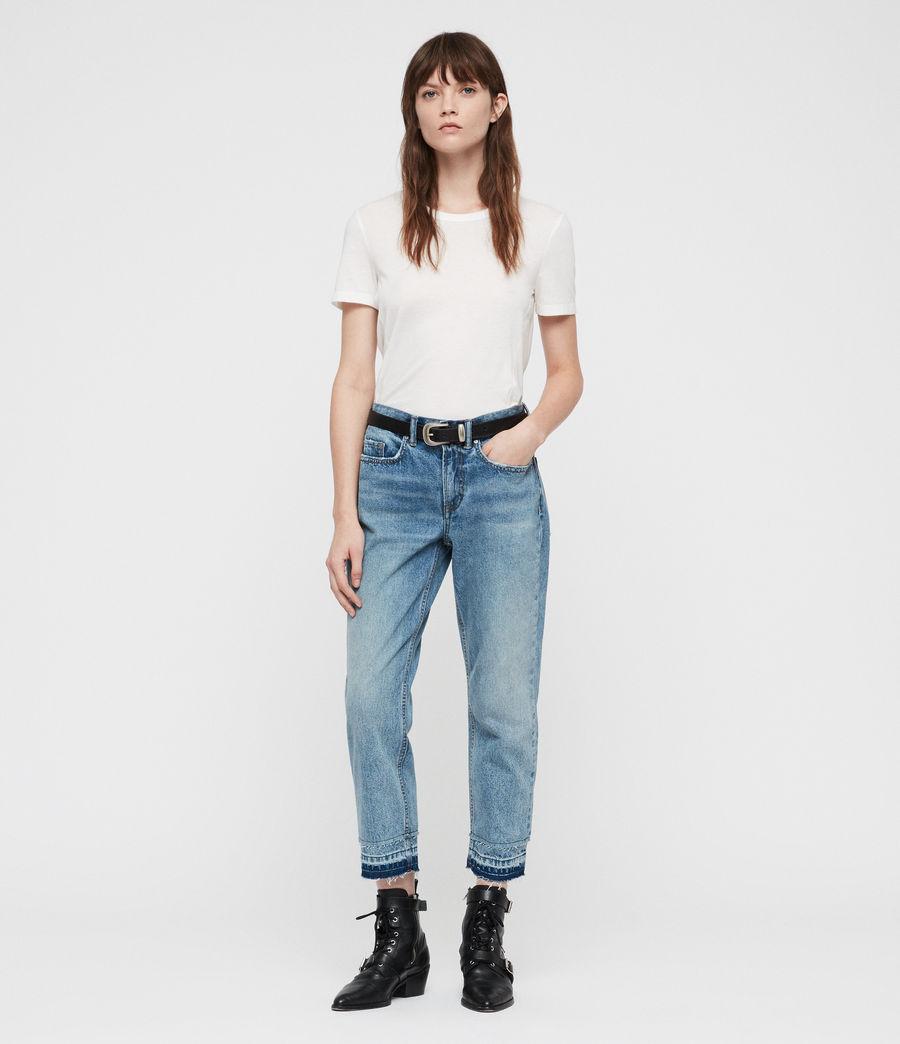Women's Boys Frayed Ty Jeans (mid_indigo) - Image 1