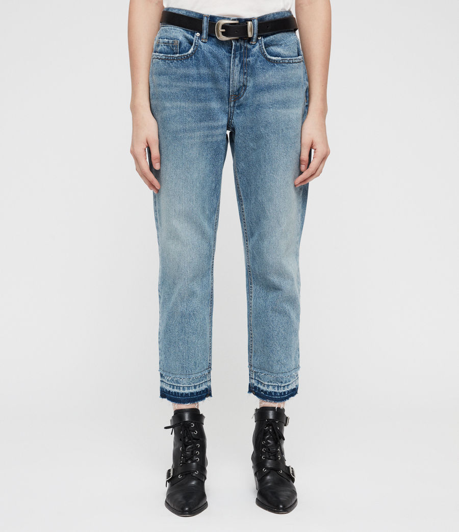 Women's Boys Frayed Ty Jeans (mid_indigo) - Image 3