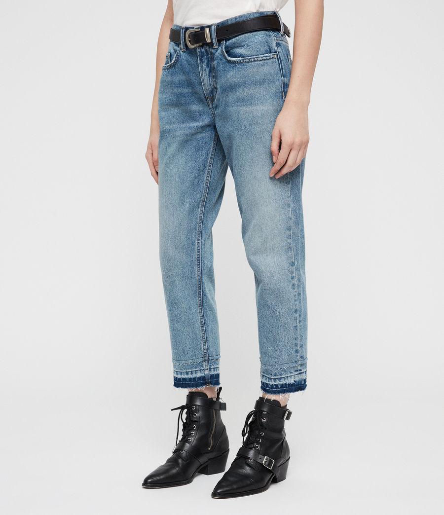 Women's Boys Frayed Ty Jeans (mid_indigo) - Image 4