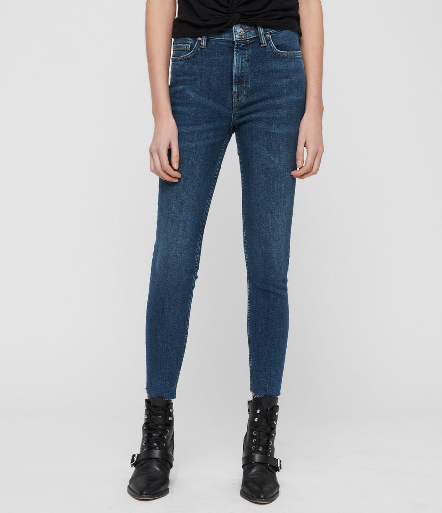 Womens Roxanne Cropped Skinny High-Rise Jeans, Dark Indigo Blue (dark_indigo_blue) - Image 1