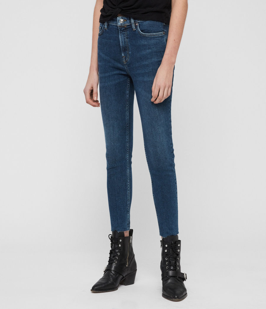 Womens Roxanne Cropped Skinny High-Rise Jeans, Dark Indigo Blue (dark_indigo_blue) - Image 2