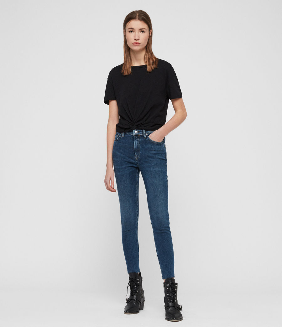 Womens Roxanne Cropped Skinny High-Rise Jeans, Dark Indigo Blue (dark_indigo_blue) - Image 3