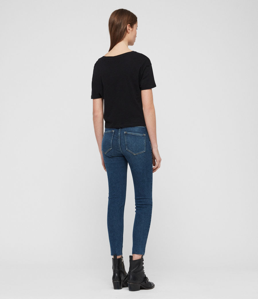 Womens Roxanne Cropped Skinny High-Rise Jeans, Dark Indigo Blue (dark_indigo_blue) - Image 5