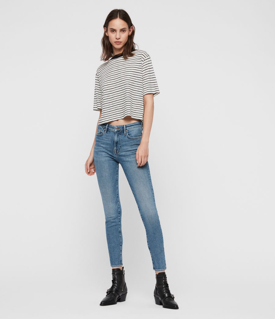 Women's Roxanne Cropped Ankle High-Rise Skinny Jeans, Mid Indigo Blue (mid_indigo_blue) - Image 3