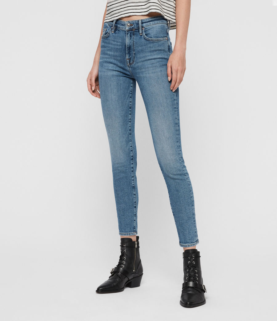 Womens Roxanne Cropped Ankle High-Rise Jeans, Mid Indigo Blue (mid_indigo_blue) - Image 4