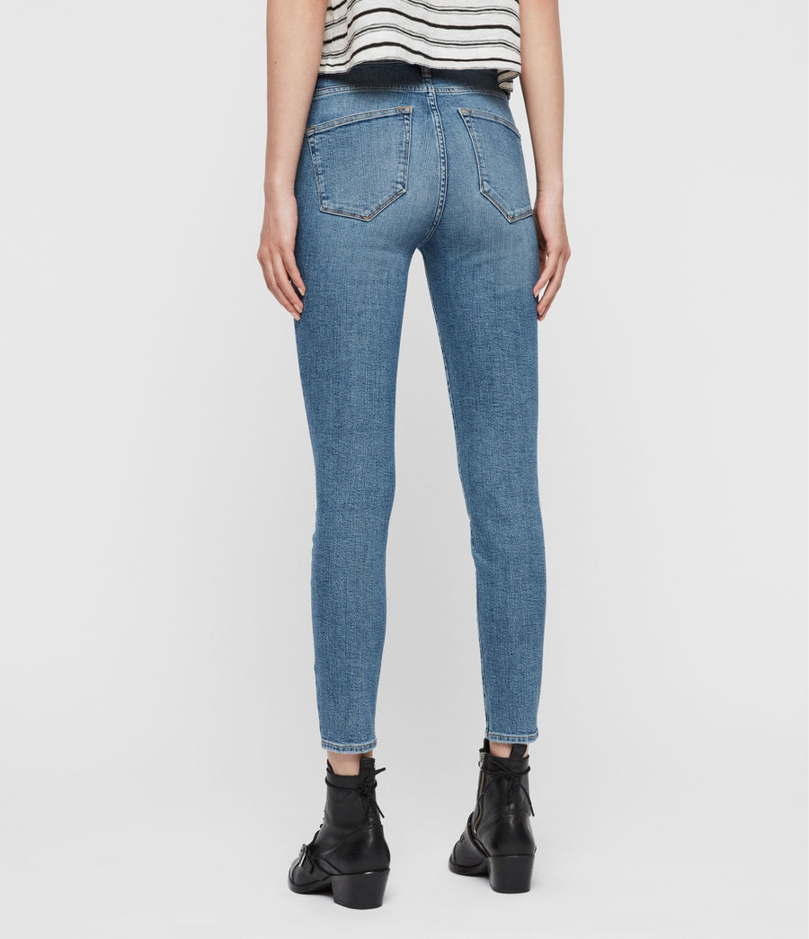 Womens Roxanne Cropped Ankle High-Rise Jeans, Mid Indigo Blue (mid_indigo_blue) - Image 5