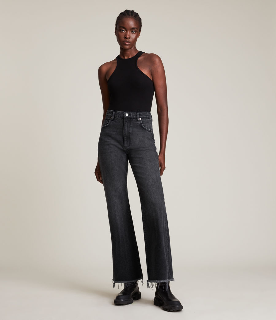 Women's Becca High-Rise Slim Flared Jeans (washed_black) - Image 4
