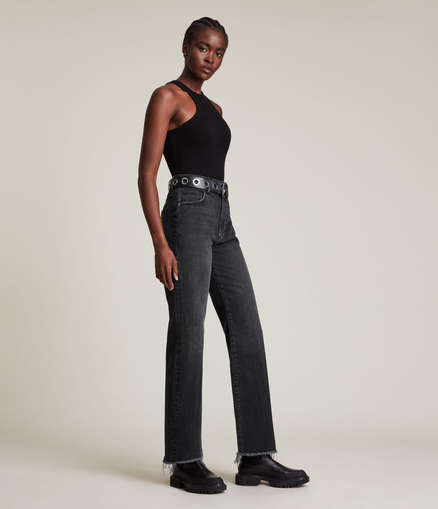 Women's Becca High-Rise Slim Flared Jeans (washed_black) - Image 5