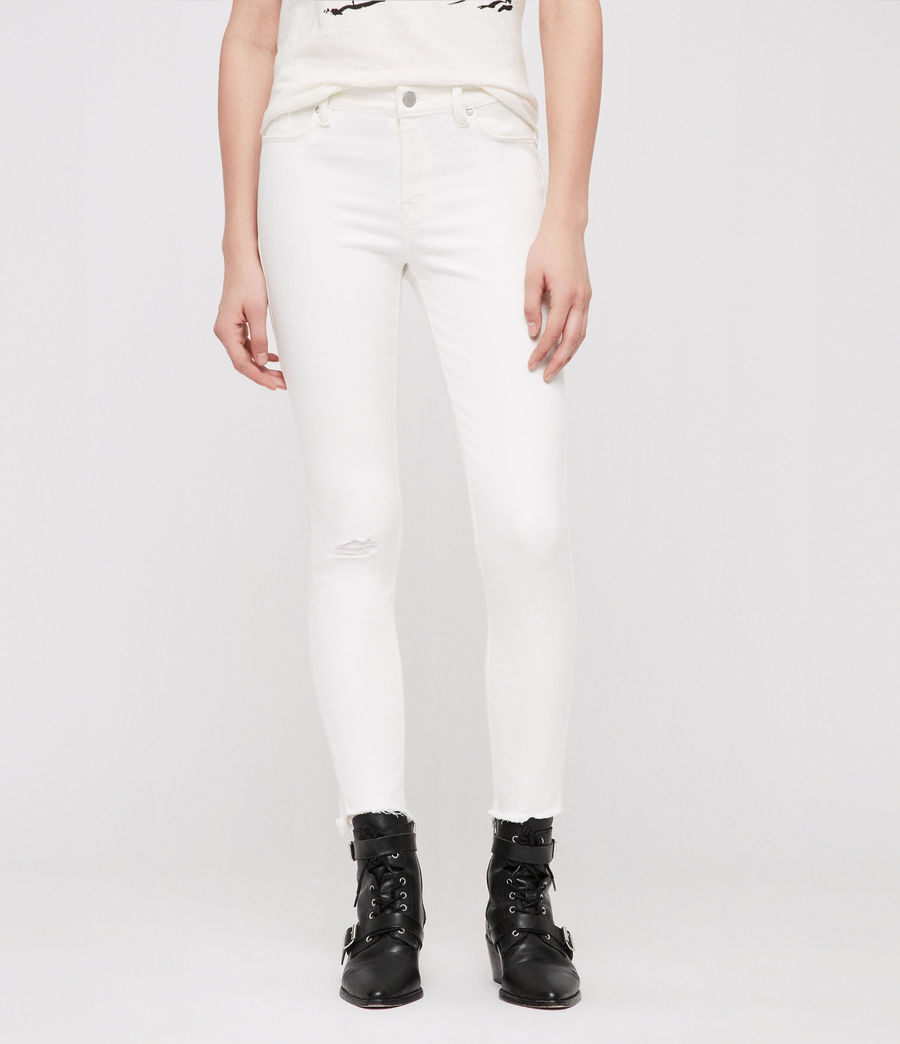 Womens Grace Ankle Fray Skinny Jeans (chalk_white) - Image 1